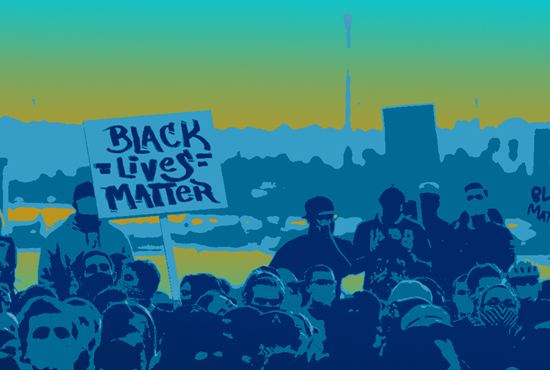 graphic in UCSD blue, teal, and gold tones featuring a wideshot of a Black Lives Matter protest outside with a seascape background